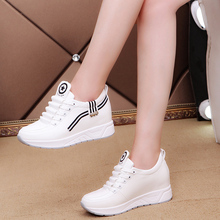 Women Sneakers Fashion White Hidden Wedge Heels Casual Shoes PU Leather Lace Up Ladies Spring Shoes