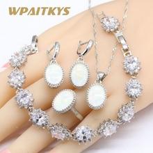 Oval White Australia Opal 925 Silver Wedding Jewelry Sets For Women Necklace Pendant Earrings Rings Zirconia Bracelets