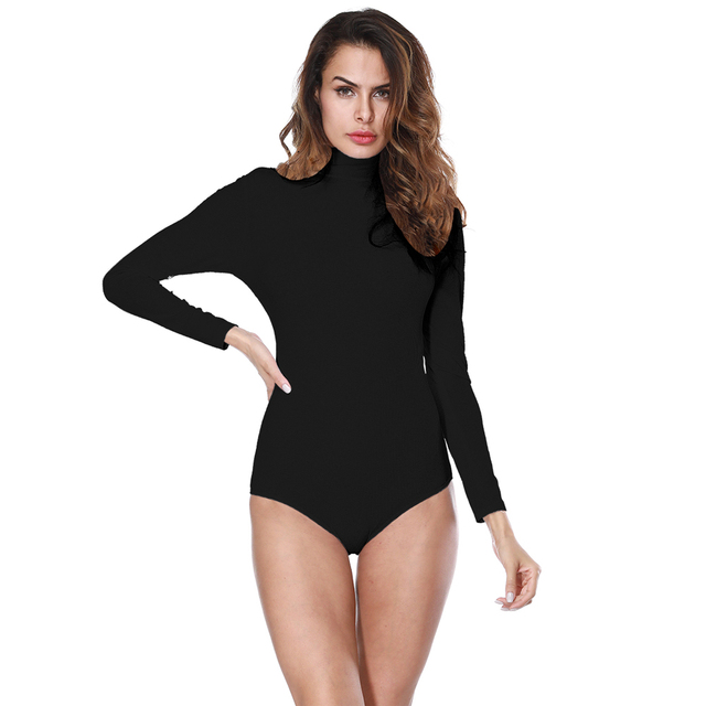 ce324aa1a99b Sexy Bodysuit Top Turtleneck Long Sleeve Overalls for Women Ribbed Tights  Bodycon Rompers Womens Jumpsuit Black Body Feminino