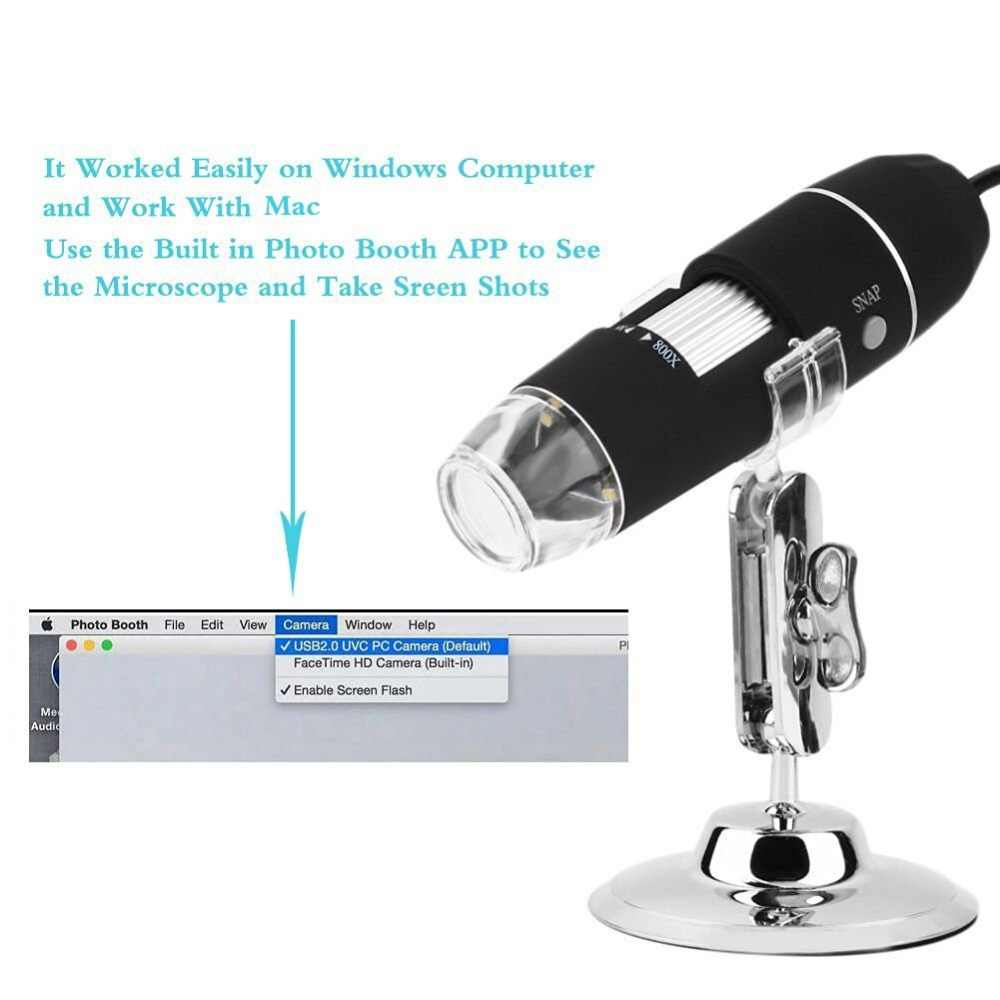 AMONIDA Handheld Portable Mini WiFi Microscope Camera LED Microscope 50X-500X 2MP USB Magnifier with Holder