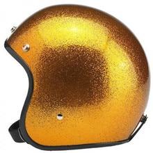Free shipping open face 3/4 motorcycle motorcross Casco Capacete helmet Jet Vintage retro helmet, Glitter cover,ECE стоимость