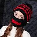 La nueva Sra. marea de otoño e invierno Sombrero Hecho Punto Sombrero de Lana de Invierno de la Señora del casquillo del oído barba máscara