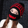 The new tide in autumn and winter Ms. Knitted Hat Winter Wool Hat Lady ear cap beard mask