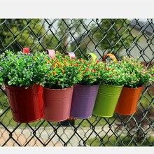7ks Zahrada Závěsné Květináč Kovové Planér Železný Květináč Balkón Závěsný balkon Pot Kvetináč Domů Dekorace