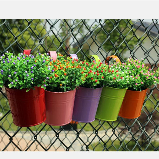 7pcs Home Garden Hanging Flower Pot Metal Planter Iron Flower Pot