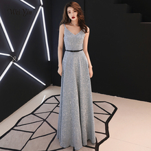 weiyin 2019 Sexy Long Evening Dresses Sparkle Deep V-Neck A-