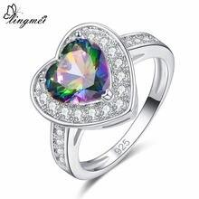 Изысканный кольцо lingmei heart multi & blue white cz серебряного
