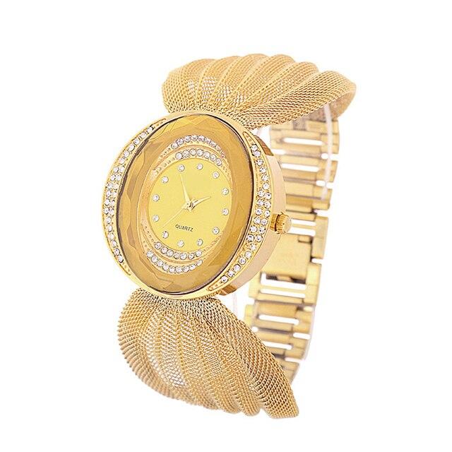 2016 new fashion gold quartz watch famous brand women clock Elegant women Watch Luxury Bracelet watch relogio feminino