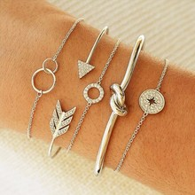 Temperament retro bohemian bracelet gold silver circle bow and arrow simple female trend jewelry 2019 new fashion gift