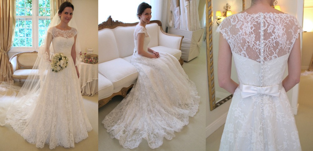 Custom Made Wanda Borges Wedding Dresses Cap Sleeve Illusion ...