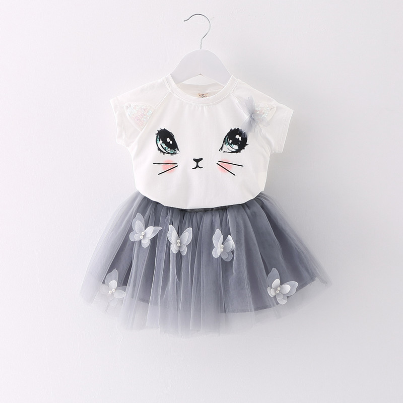 JKP baby Summer girls clothing set Cartoon Cat T shirt Yarn TUTU lace Skirt Children kids clothes suits Fashion toddler clothes retail 2017 new kids girls clothing set cartoon t shirt dress cotton baby girls suits set fashion children girl clothes