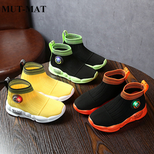 Childrens sports shoes 2019 autumn new  net baby flying woven childrens socks