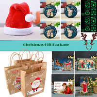 mix 24pcs Christmas Gift Bag Christmas Hat Gift Bag Elk Headwear Nightlight Jewelry Tin Painting Party Gift Festival Supplies