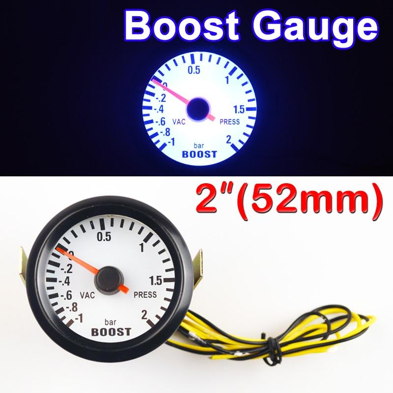 DRAGON GAUGE Car Gauge 2 52mm Bar Turbo Boost Gauge -1~2 Bar Vacuum Press Meter for Blue Light Black Rim Shell 12V