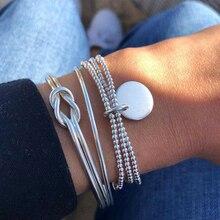 3 Pcs/set Silver Bohemian Geometry Bracelets Bangles Set Vintage Multilayer Charm Cuff Bracelet for Women 2019 Fashion Jewelry