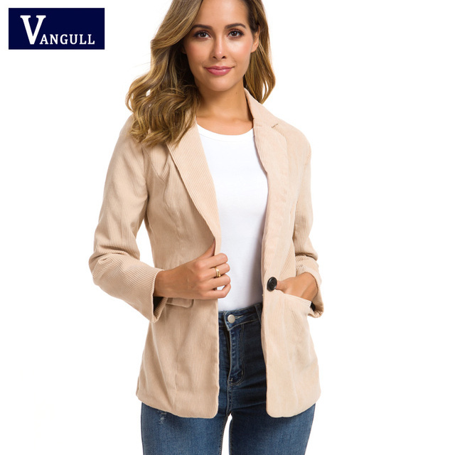 Vangull Women Autumn Winter Corduroy Blazer For Office Ladies New female Jackets With Pockets Suits Notched Collar Liner Coats