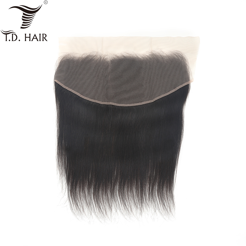 Tdhair Peruvian Straight 13x6 Free Part Frontal Lace Closure For Black Women Remy Hair Pre Plucked Human Hair