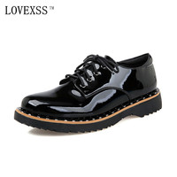 LOVEXSS Rivet Derby Shoes 2017 SpringAutumn Latest Fashion Casual Black Genuine Leather Woman Flats Rivet Derby