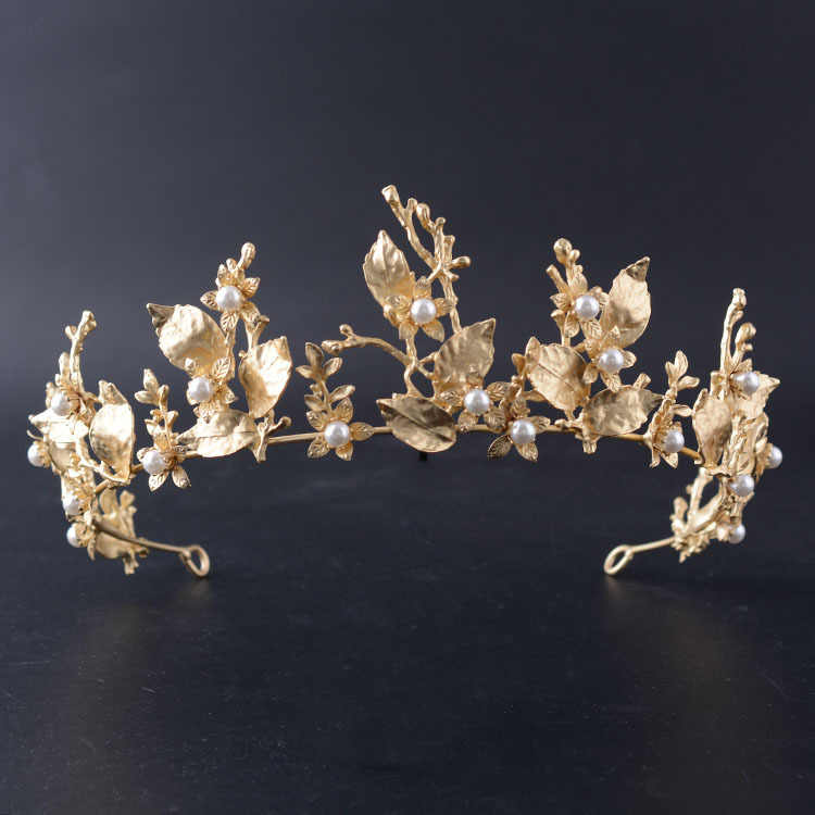 Baroque Vintage Gold Leaf Branch Bridal Tiaras Crown Headpieces Shiny Pearls Rhinestone Pageant Crowns Wedding Hair Accessories