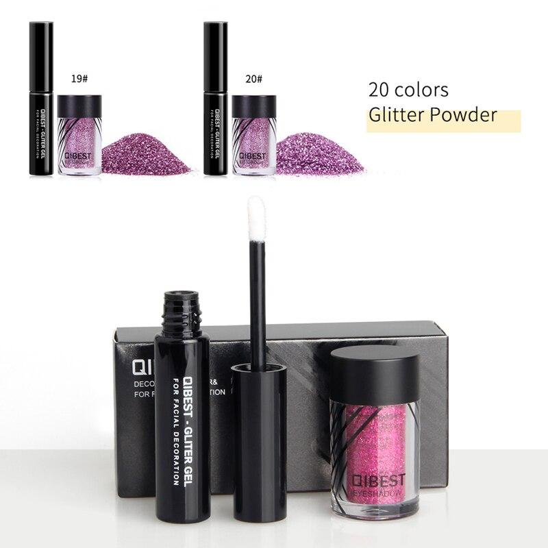 Qibest Brand Eyeshadow Glitter Plus Glue Makeup Glitter Waterproof Colorful Laser Silver Powder Face Lip Body Festival Glitter Beauty & Health