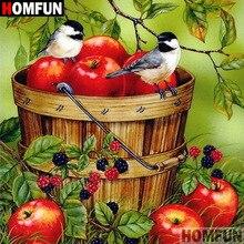 """HOMFUN 5D DIY алмазная живопись полная квадратная/круглая дрель """"Птица яблоко"""" 3D вышивка крестиком подарок домашний декор A08134"""