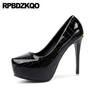 Metallic Scarpin Black 12cm 5 Inch Super Catwalk Silver Platform Women Shoes Pointed Toe Ultra Extreme Pumps Fetish High Heels