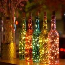 חדש 2M LED זר אגדה המיטה לילה אורות יין בקבוק פקק קרפט חג המולד לשנה חדשה חג האהבה דקורטיבי תאורה