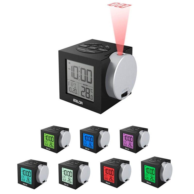 12/24 heures toujours sur l'horloge de Projection, grand nombre affichage coloré rétro-éclairage Snooze réveil avec prise US/EU ou batterie Powe