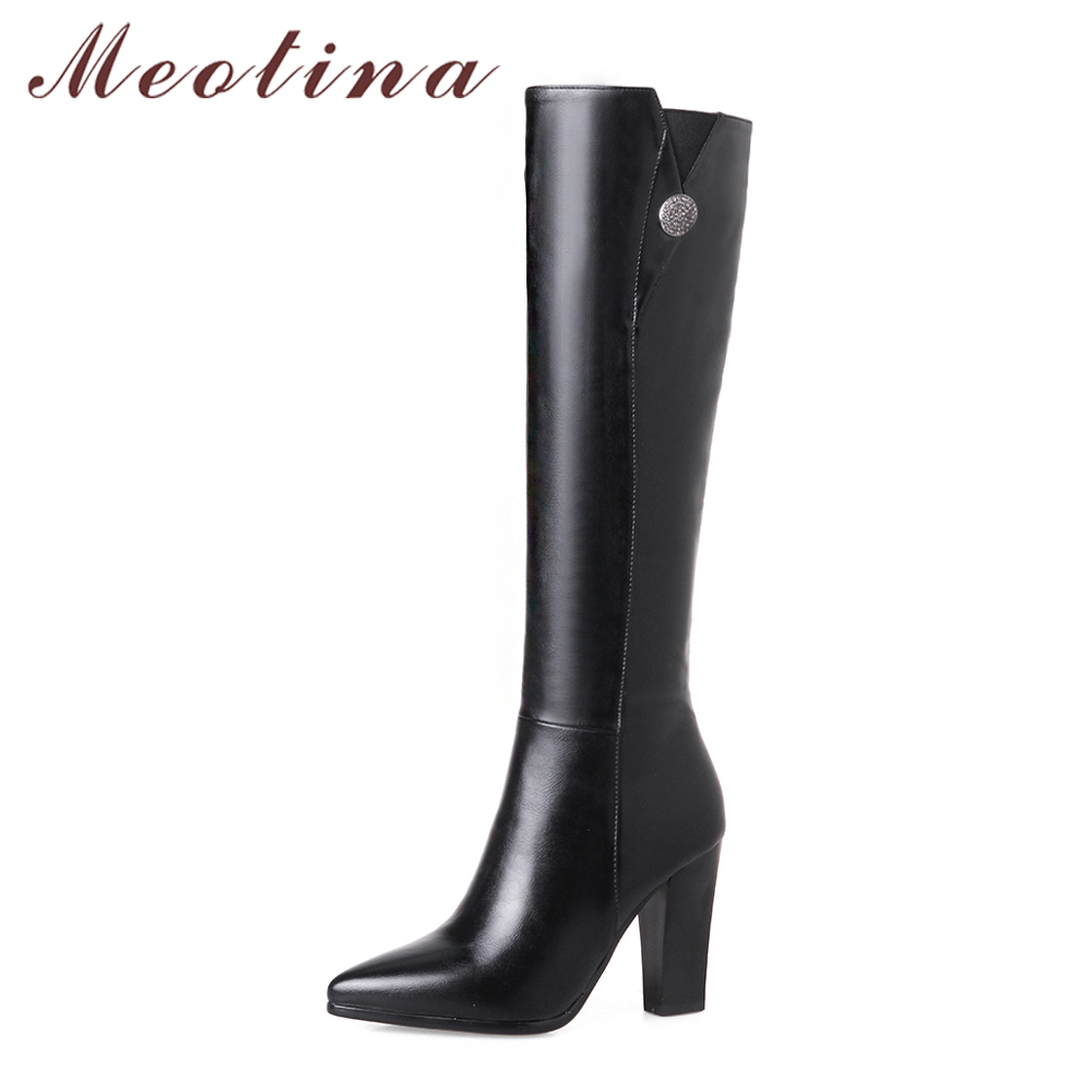 Meotina Winter Women Boots Knee High Boots Thick High Heel Long Boots Zip 2018 Grace Ladies Autumn Shoes Large Size 33-43 Black