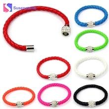 2017 Wristband Magnetic Rhinestone Buckle Leather Wrap Bracelet Bangle pulseras mujer #0501
