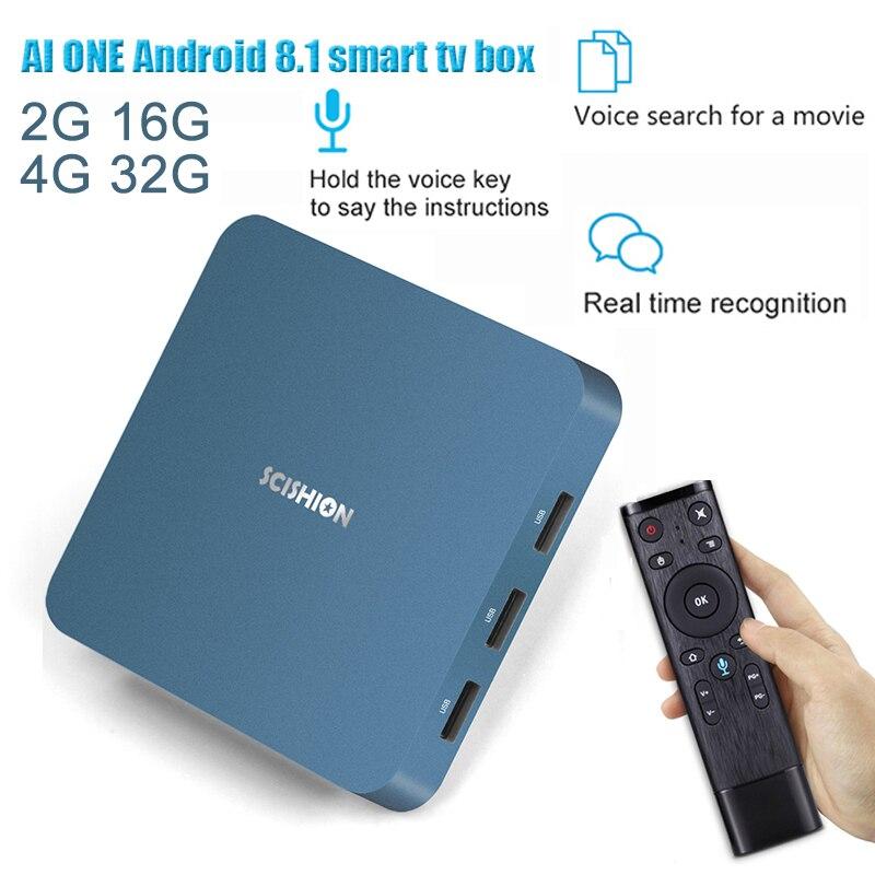 AI ONE TV BOX multi-langue 4 K Quad Core HDR film Set-top Android 8.1 Netflix YouTube Google Smart Android avec commande vocale