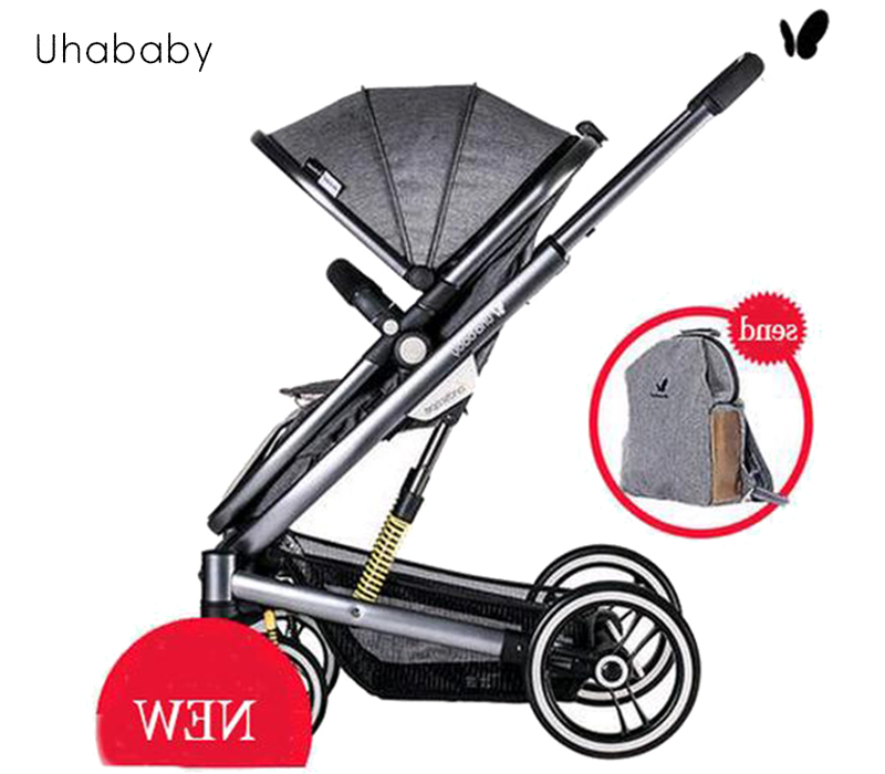 uhababy baby cart Can sit can lie down Very light Folded Stroller with shock absorbers Baby carriages Russia free shipping все цены