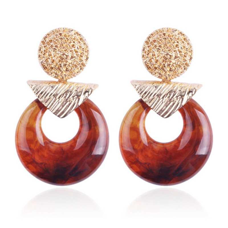 Leopard Print Acrylic Acetic Acid Geometric Heart Round Long Drop Dangle Earrings for Women Tortoise Color Fashion ZA Jewelry