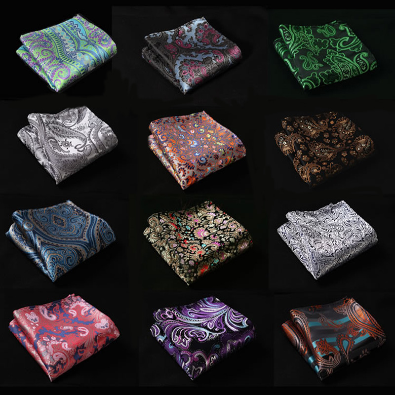Factory Men's Luxury Silk Paisley Flower Handkerchief Hanky Elegant Men Luxury Chest Towel Wedding Business Party Pocket Square