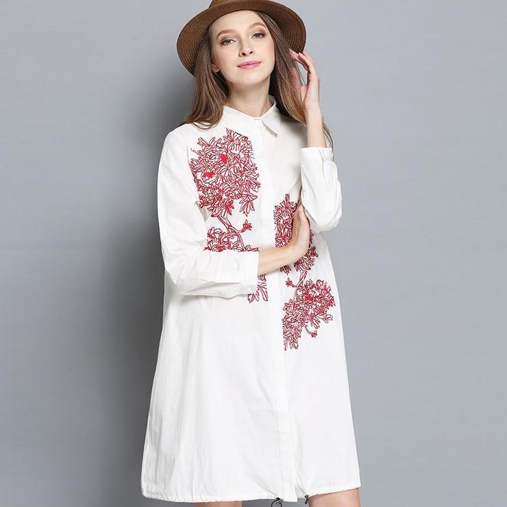 Long Sleeve Cotton Embroidery Women Shirt Dress 2017 Autumn XL 4XL Plus Size Casual Loose Long