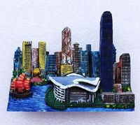 Hong Kong Victoria Harbor Convention And Exhibition Center 3D Fridge Magnets Travel Souvenirs Refrigerator Magnetic Stickers