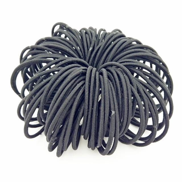 Lot 100 Pcs Size 5CM Thin Black Girl Headwear Elastic Hair Bands Holder Hair  Ties Ring ecf1a2fd825
