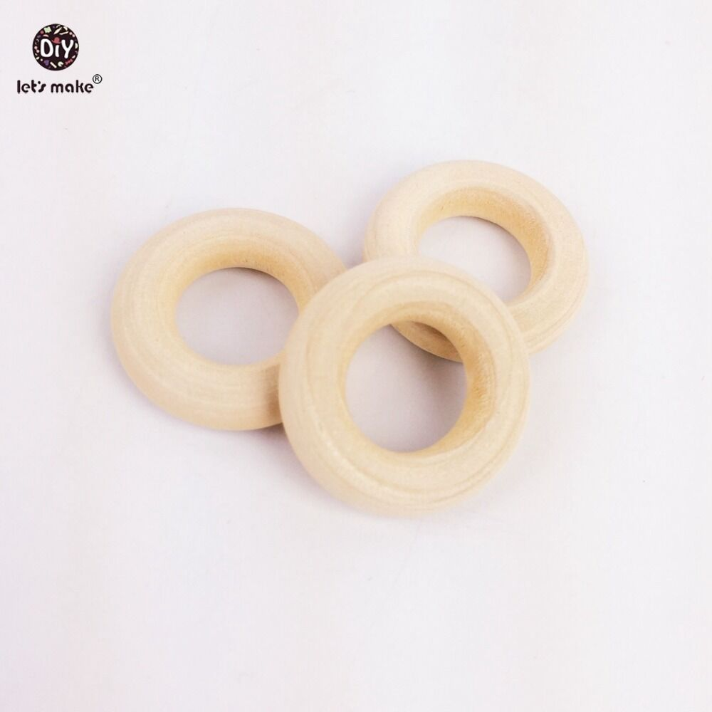Let's Make 200pc 25mm Maple Wooden Ring Food Grade Wood Teether Children's Jewelry DIY Crafts Accessories Nursing Pendant