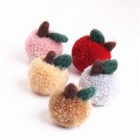 Newest 10PCS 32*40MM Handmade Round Wool Felt Apple Girls Hair Jewelry Bow Center Decor Garment Ornament Accessories Patch