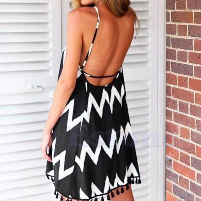 2017 Summer Women Summer Beach Spaghetti Strap Short Mini Dress