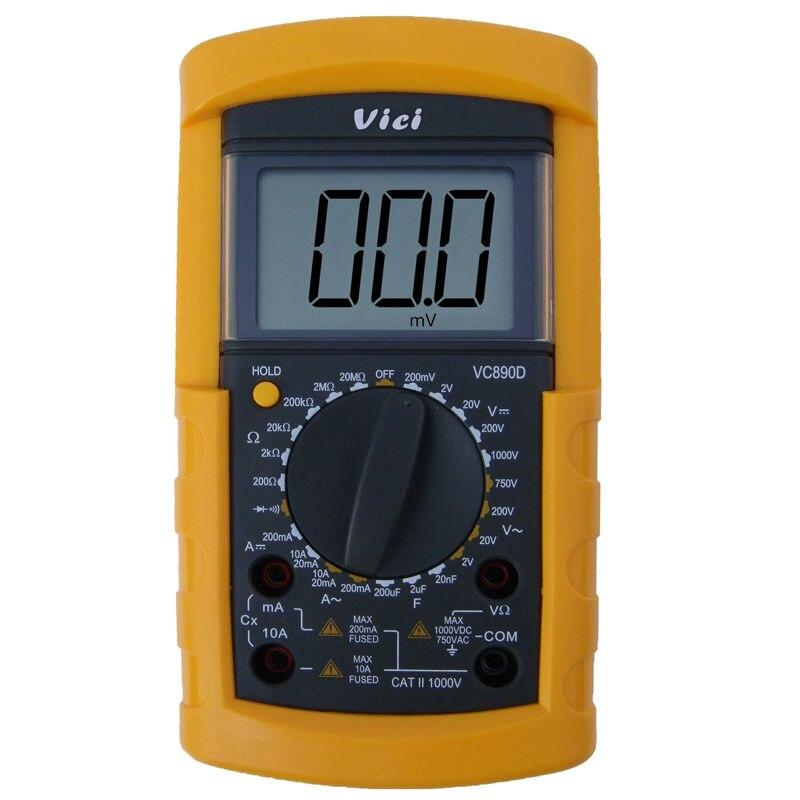 ФОТО VICI VC890D Digital Multimeter 3 1/2 manual range DMM AC/DC Ammeter Voltmeter Ohmmeter W/ Capacitance Tester 200uF