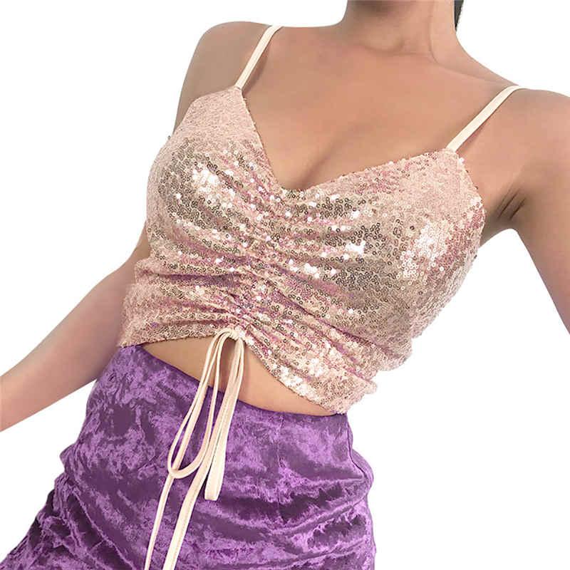 Womens Sleeveless Sparkly Sequin Party Club Top Vest Shirt korean style women  tshirt oversized t shirt camiseta