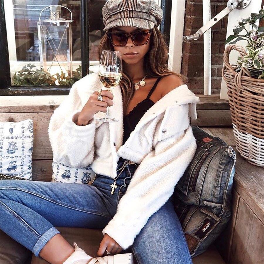 Lamb Turn Down Collar Coat Women Button Streetwear Bolero Cropped Feminino Blouson Femme Women Spring Jacket 2019 60j117 in Jackets from Women 39 s Clothing
