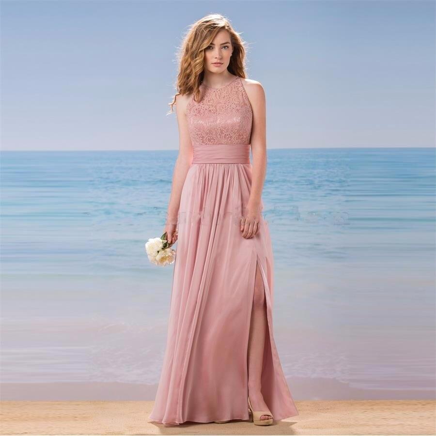 Largas Blush Rosa vestidos de dama de Honor de Encaje Baratos Vestidos de Escote Halter Keyhole Volver Una Línea Playa de La Gasa 2017 Vestido de ...