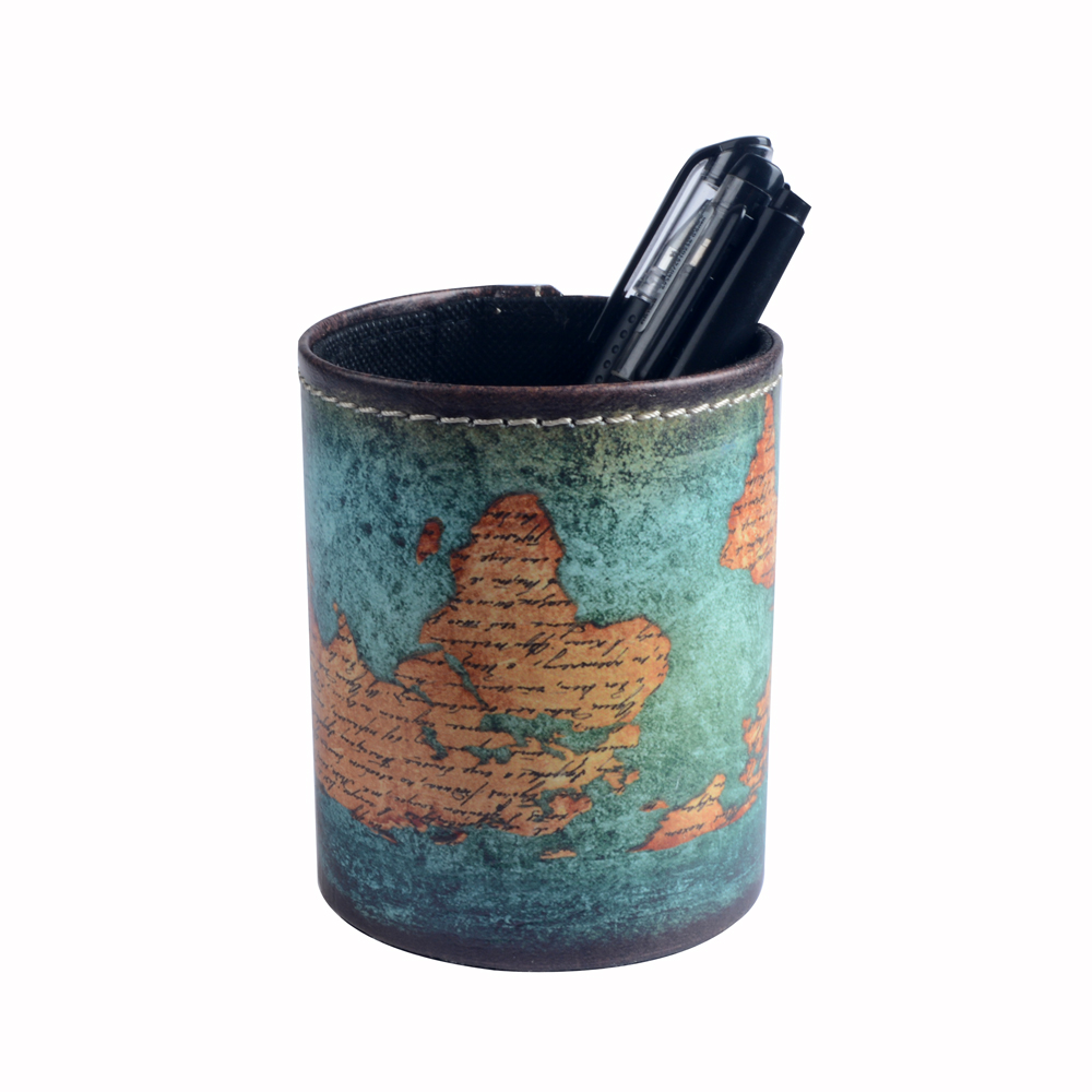 Linkwell 1pc Antique Blue Shabby Chic Upside Down World Map Pu Leather  Pencil Pen Holder Desk