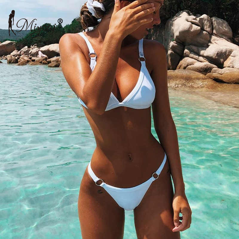 7db988e10fdbc Miyouj Sexy Thong Bikini Solid Swimsuit Women Deep V Neck Swimwear Push Up  Beachwear Brazilian Biquini