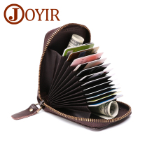 JOYIR Unisex Credit Card Holder Genuine Leather Cowhide Men Women Rfid Wallet 14 Position Id Holders Purse