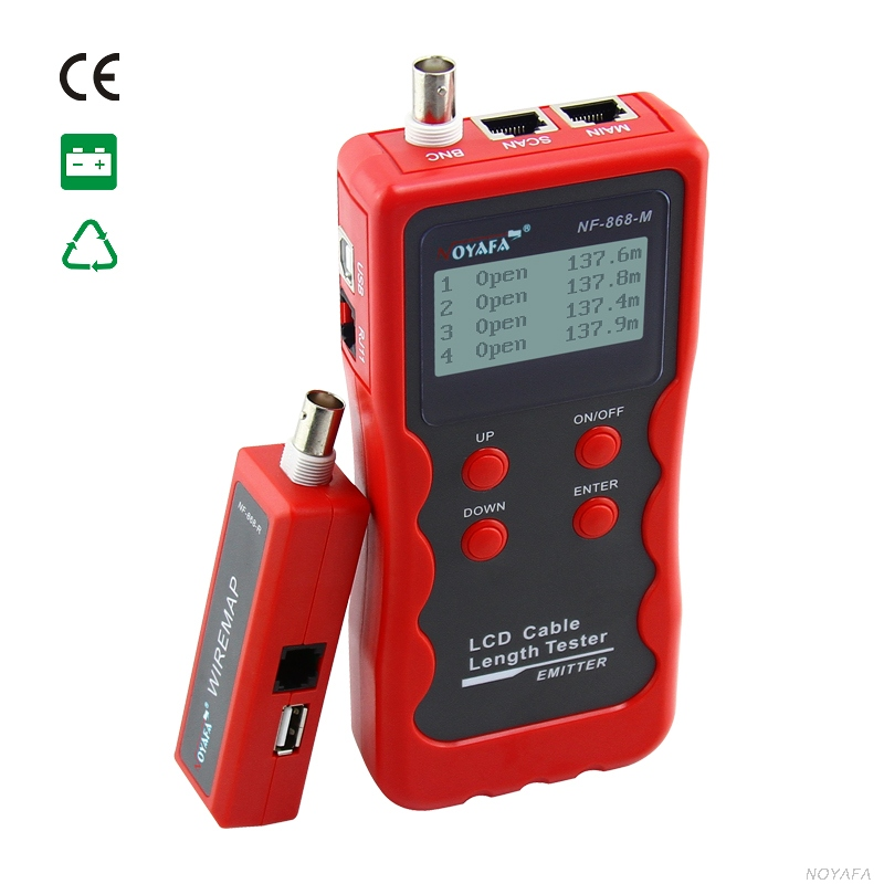 ФОТО Top Quality  Cable Length Tester Emitter NF-868A LCD English Version lan tracker finding