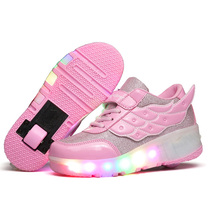 Size  27-43// One Wheel Shoes Basket S Pulley Wheels Shoes Zapatos Automatic Wheel Lights Sports Shoes Kids Sneakers with Wings