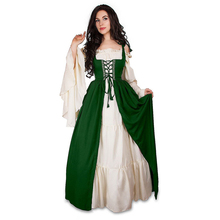 Women Medieval Victorian Halloween Dress Ladies Square Collar Bandage Corset Renaissance Vintage Dresses Cosplay Costume Vestido